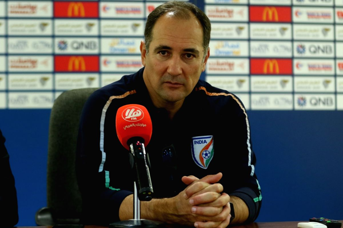 Muscat: Indian National Football Team Head coach Igor Stimac addresses a post-match press conference after India defeated Oman by 0-1 in the FIFA World Cup Qatar 2022 Qualifiers at the Sultan Qaboos Sports Complex Stadium in Muscat on Nov 19, 2019. (