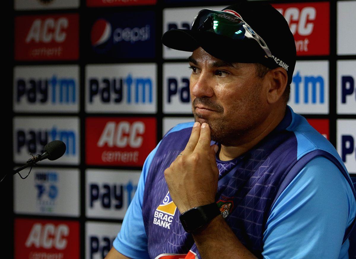 Nagpur: Bangladesh head coach Russell Domingo addresses a press conference ahead of the third T20I match against India, at Vidarbha Cricket Association Stadium in Nagpur, Maharashtra on Nov 9, 2019. (Photo: Surjeet Yadav/IANS)