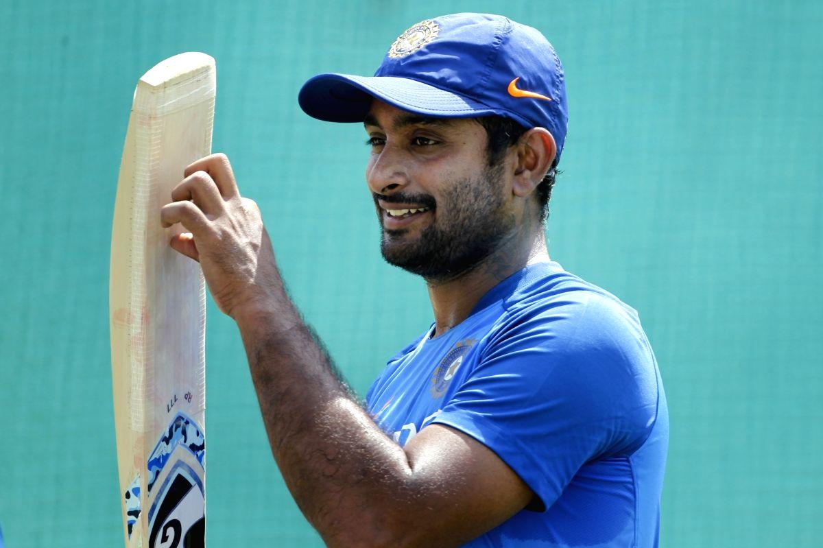 Nagpur: India's Ambati Rayudu during a practice session ahead of the second ODI match against Australia, at Vidarbha Cricket Association (VCA) Stadium, in Nagpur, on March 4, 2019. (Photo: Surjeet Yadav/ IANS)