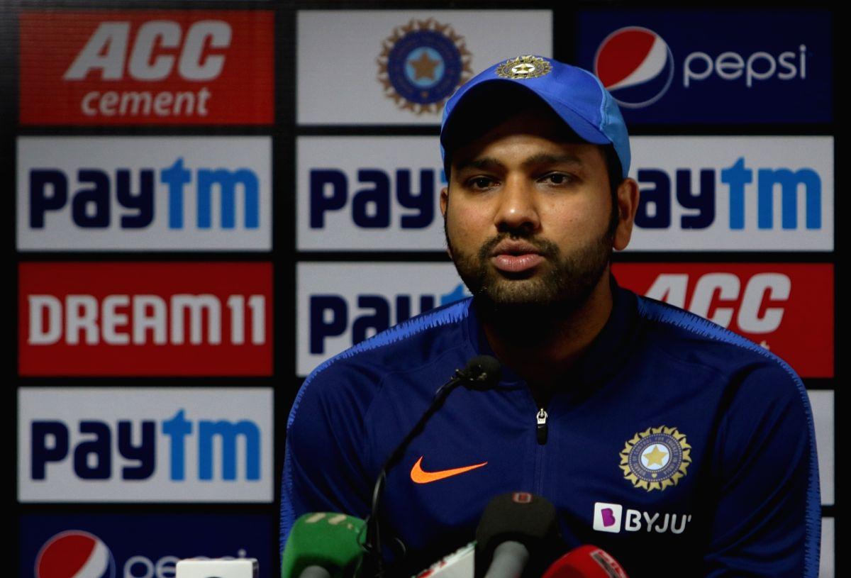 Nagpur: Indian captain Rohit Sharma addresses a press conference ahead of the third T20I match against Bangladesh, at Vidarbha Cricket Association Stadium in Nagpur, Maharashtra on Nov 9, 2019. (Photo: Surjeet Yadav/IANS)
