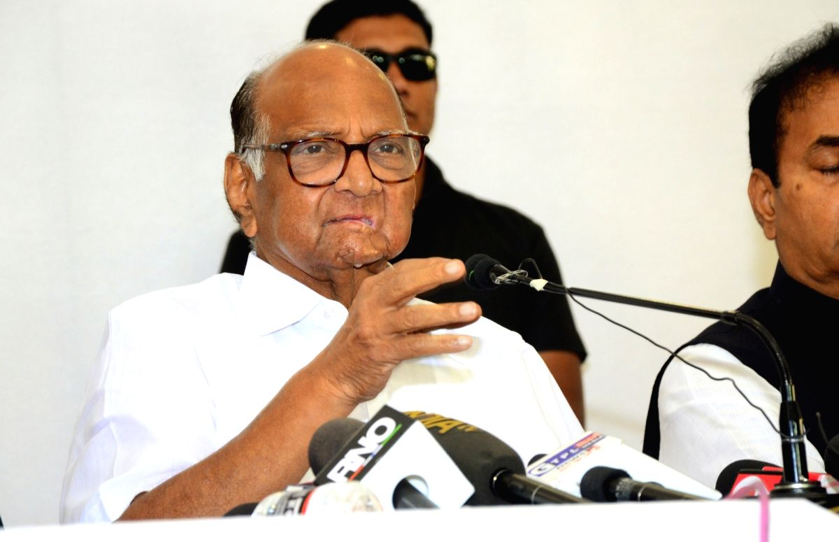 Nagpur: Nationalist Congress Party (NCP) chief Sharad Pawar addresses a press conference in Nagpur on Nov 15, 2019.