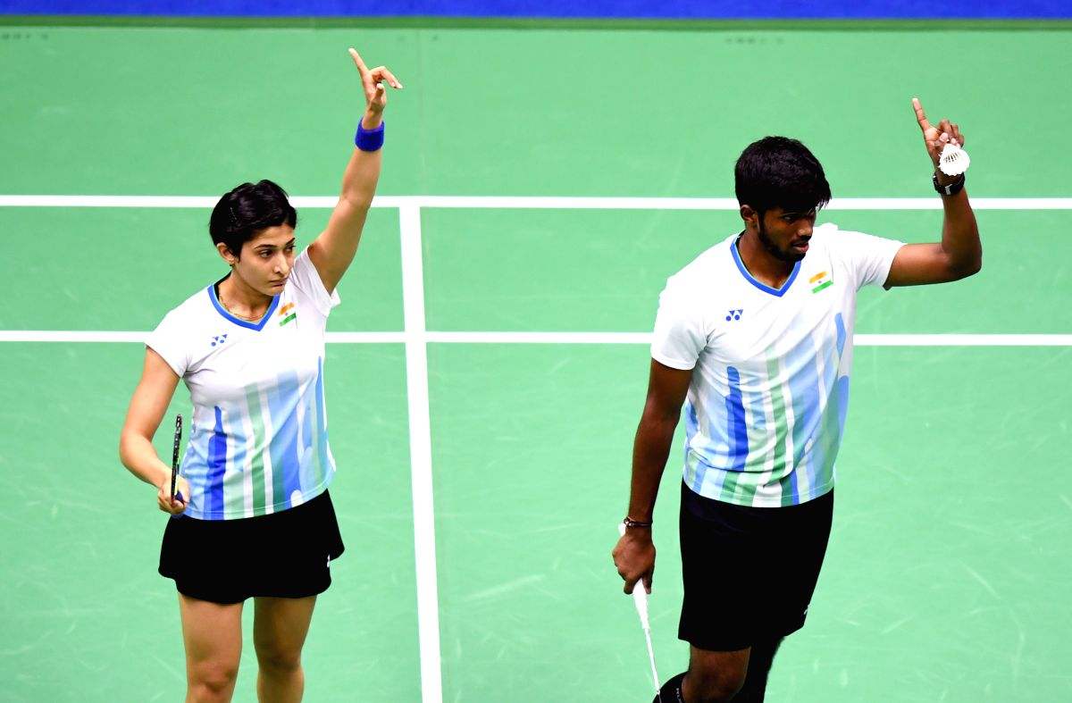 NANNING, May 21, 2019 (Xinhua) -- Satwiksairaj Rankireddy (R)/Ashwini Ponnappa of India challenge a call during the mixed double match against Goh Soon Huat/Lai Shevon Jemie of Malaysia in the group match between India and Malaysia at TOTAL BWF Sudir