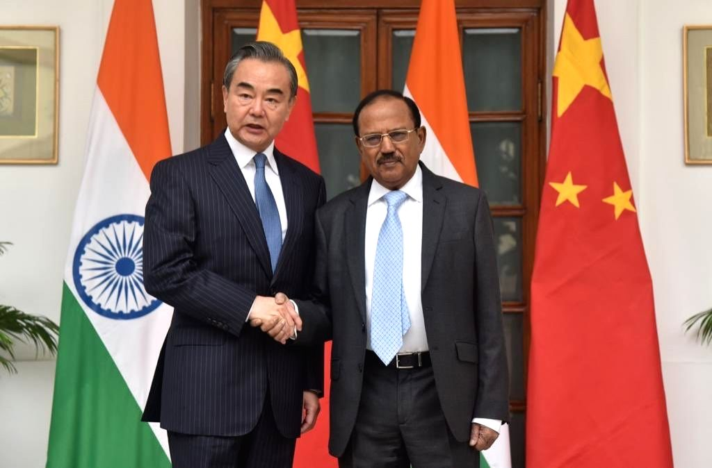 National Security Advisor Ajit Doval with Chinese State Councillor and Foreign Minister Wang Yi