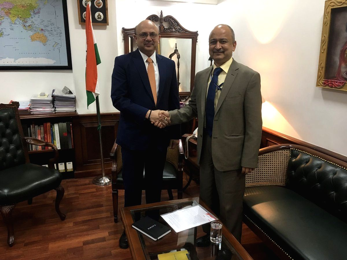 New Delhi: A photograph shared by Air India where Senior bureaucrat Pradeep Singh Kharola is seen taking charge as Chairman and Managing Director (CMD) of Air India from Rajiv Bansal, Financial Advisor to the Petroleum and Natural Gas Ministry who wa