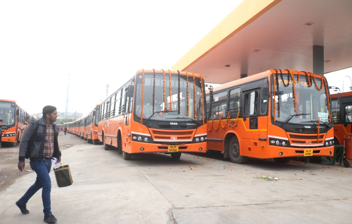 New Delhi: A view of newly 100 standard floor buses equipped with hydraulic lifts, CCTV cameras and panic button under the cluster scheme, which was flagded off by Delhi Chief Minister Arvind Kejriwal, in New Delhi on Nov 28, 2019.