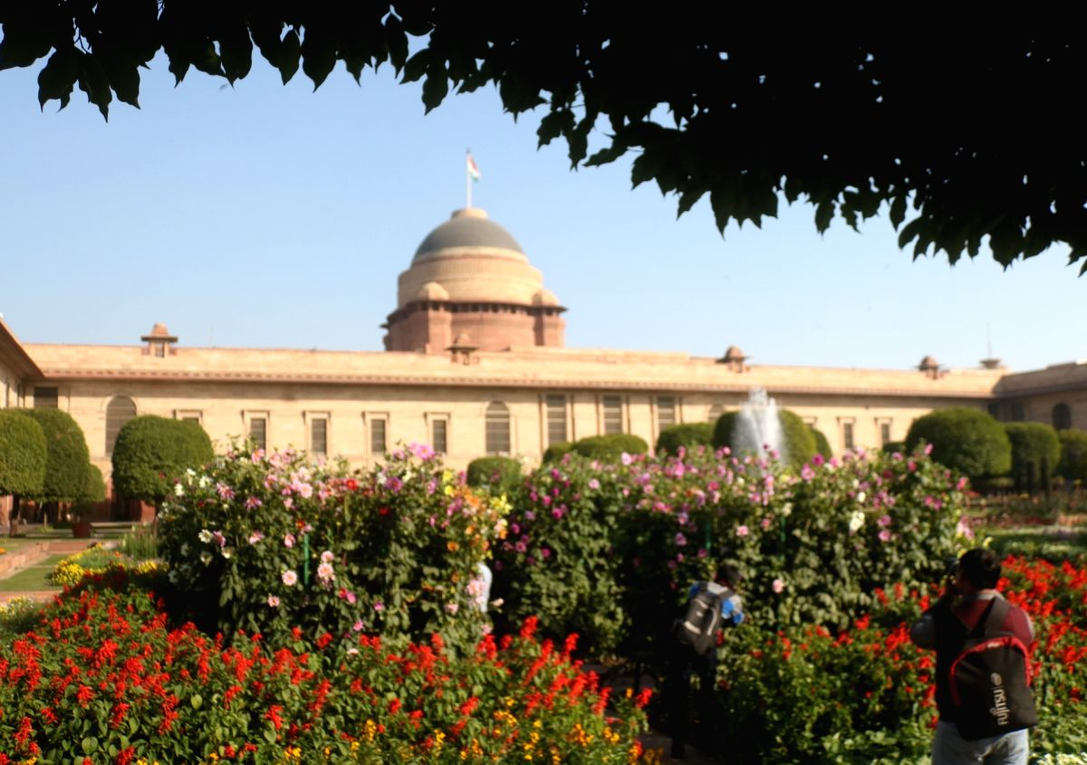 New Delhi: A view of the Mughal Gardens at Rashtrapati Bhavan during its press preview in New Delhi on Feb 4, 2018.