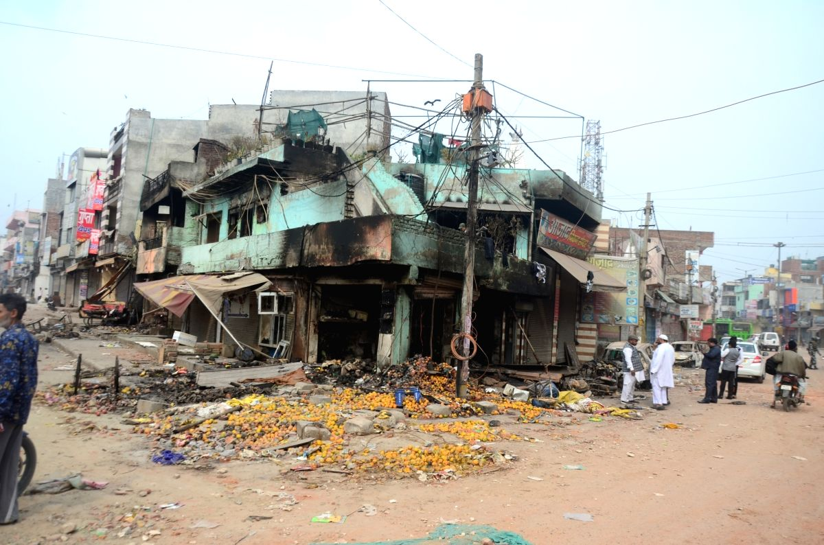 New Delhi: A view of the shops which were gutted during the riots in North East Delhi's Khajuri Khas on Feb 27, 2020.