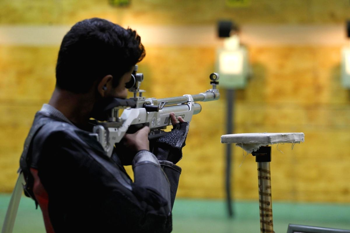 New Delhi: A young shooter participating in 10m Air Rifle event, during Khelo India School Games at the Dr. Karni Singh Shooting Ranges in New Delhi on Feb 1, 2018.