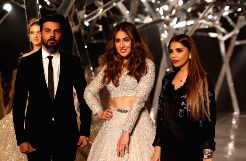 New Delhi: Actress Sara Ali Khan walks the ramp for designer Falguni Shane Peacock at India Couture Week 2019 in New Delh