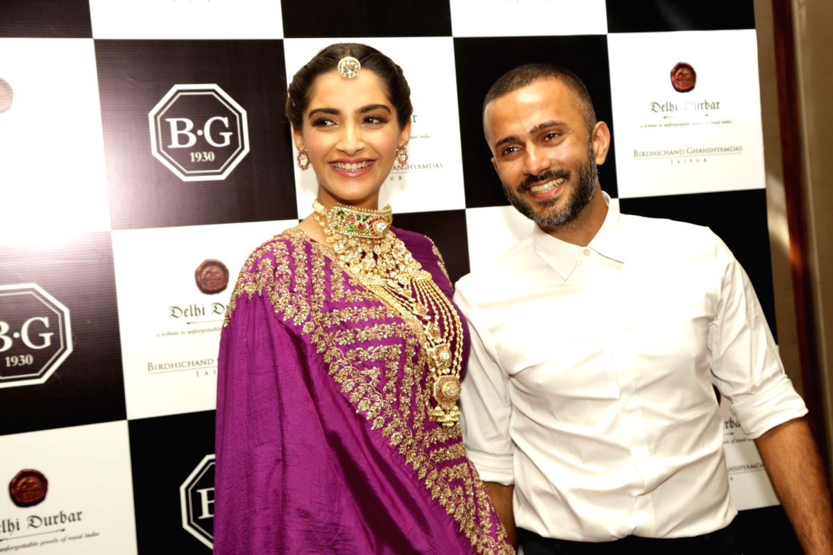 New Delhi: Actress Sonam Kapoor Ahuja along with her husband Anand Ahuja at jewellery collection show, in New Delhi on 8 Sept. 2018. (Photo: Amlan Paliwal/IANS)