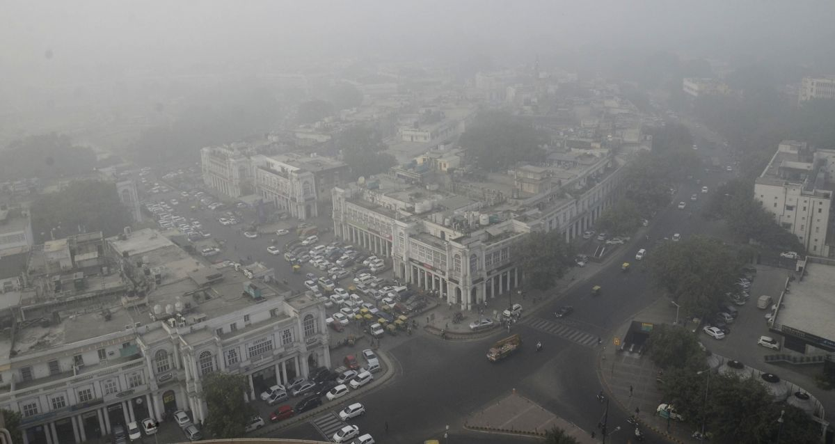 New Delhi: Aerial view of Connaught Place in New Delhi on Oct 10, 2020. The Delhi cabinet on Friday sanctioned Rs 20 crore for the installation of a first-of-its-kind smog tower at Connaught Place in the national capital to curb air pollution. The in