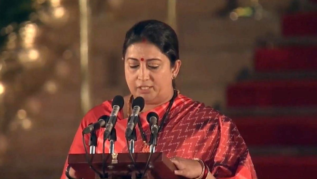 New Delhi: Amethi BJP MP Smriti Irani takes oath as Union Minister at a swearing-in ceremony at Rashtrapati Bhavan in New Delhi on May 30, 2019.