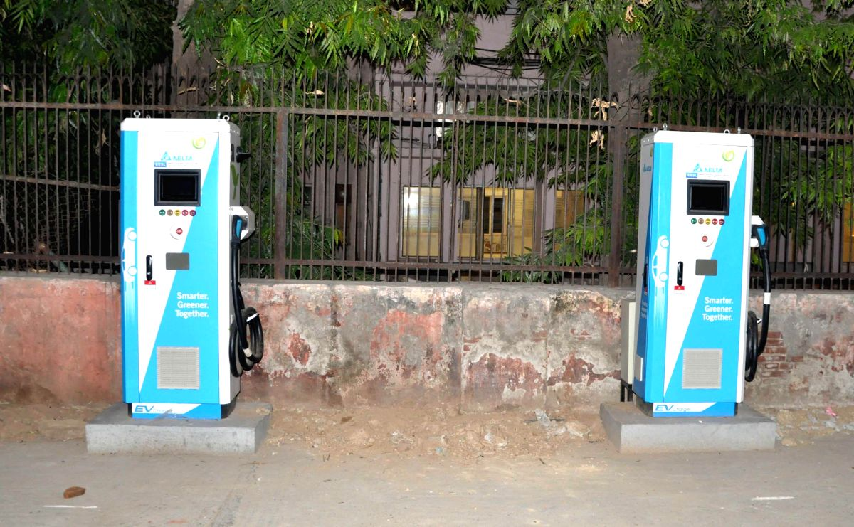 New Delhi: An electric vehicle charging station in New Delhi on July 10, 2019.