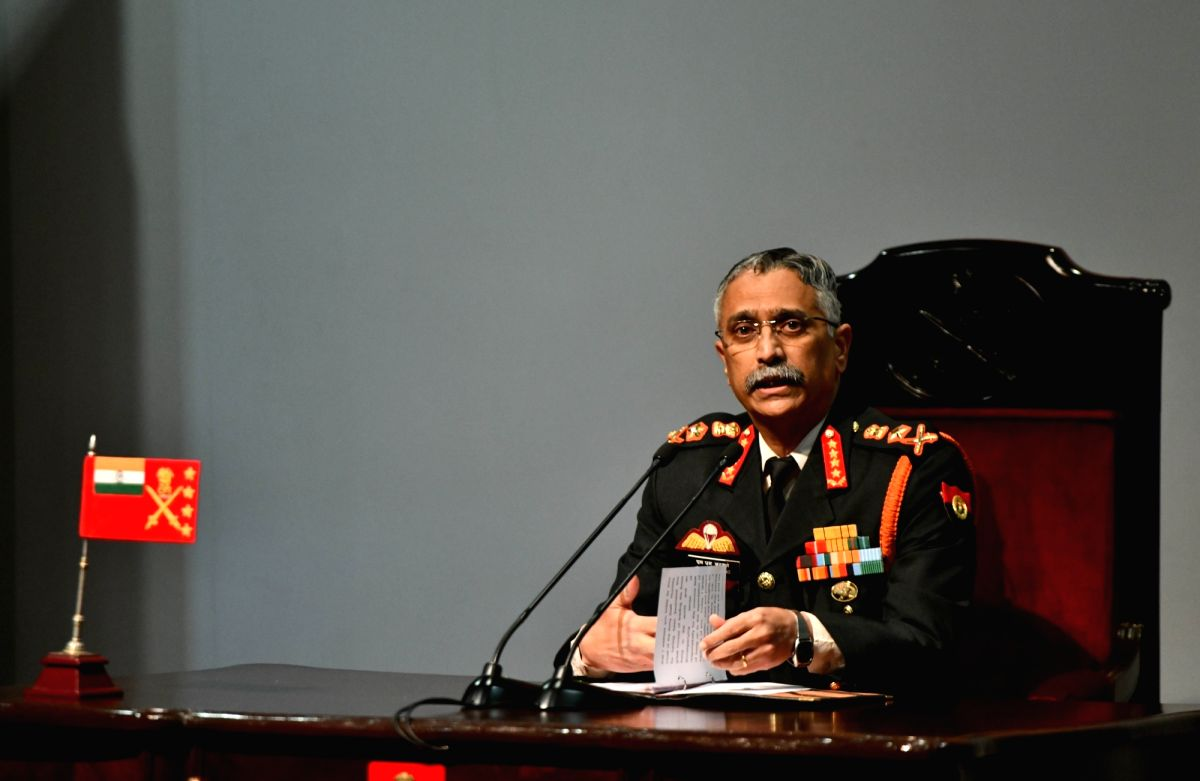 New Delhi: Army chief General Manoj Mukund Naravane addresses during the annual press conference at the Manekshaw Centre in New Delhi on Jan 11, 2020.