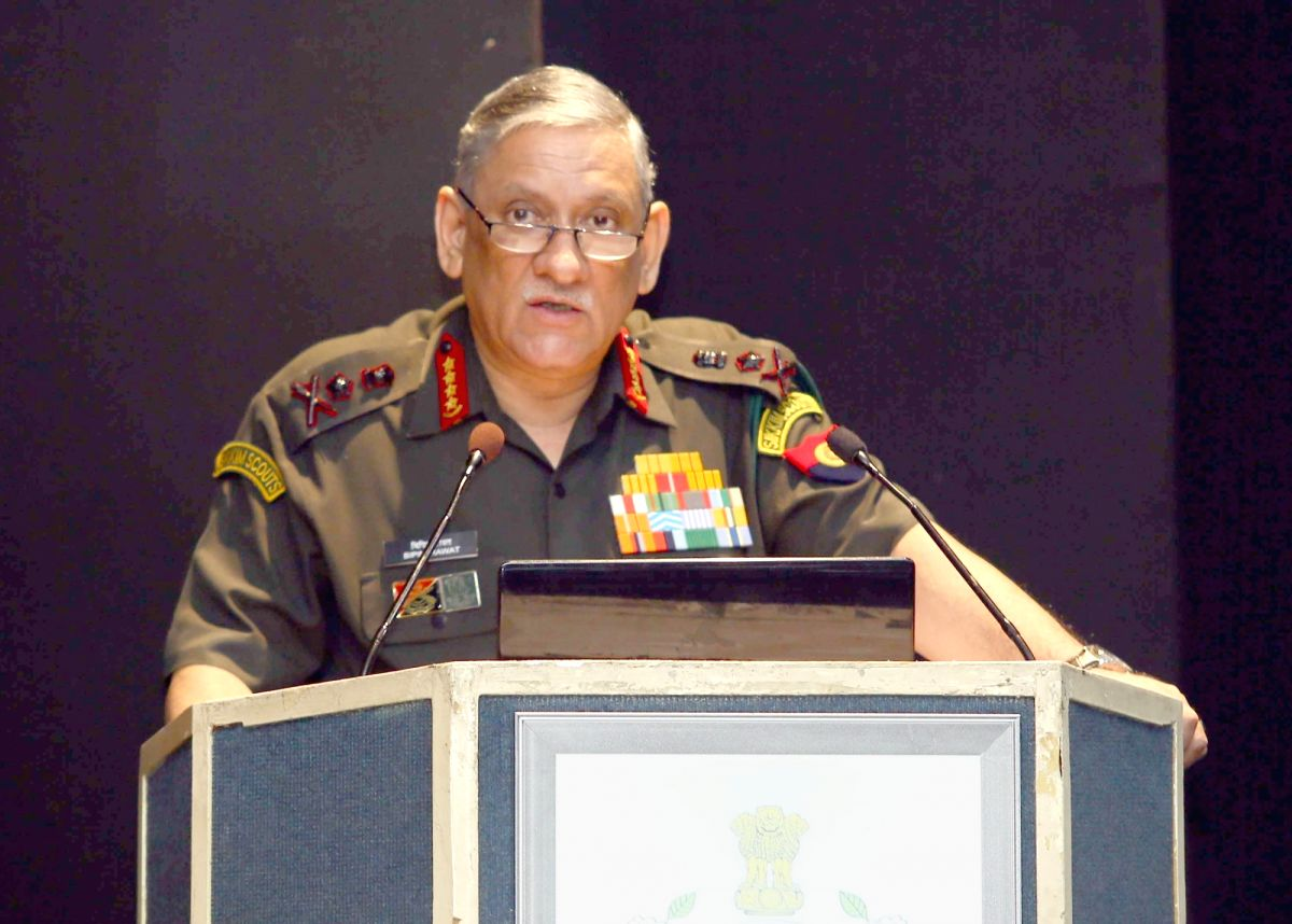 New Delhi: Army Staff Chief General Bipin Rawat addresses at the USI seminar on 'Evolving Geopolitics of the Indo-Pacific Region - Challenges and Prospects' at United Service Institution of India, in New Delhi on Nov. 1, 2018. (Photo: IANS/PIB)