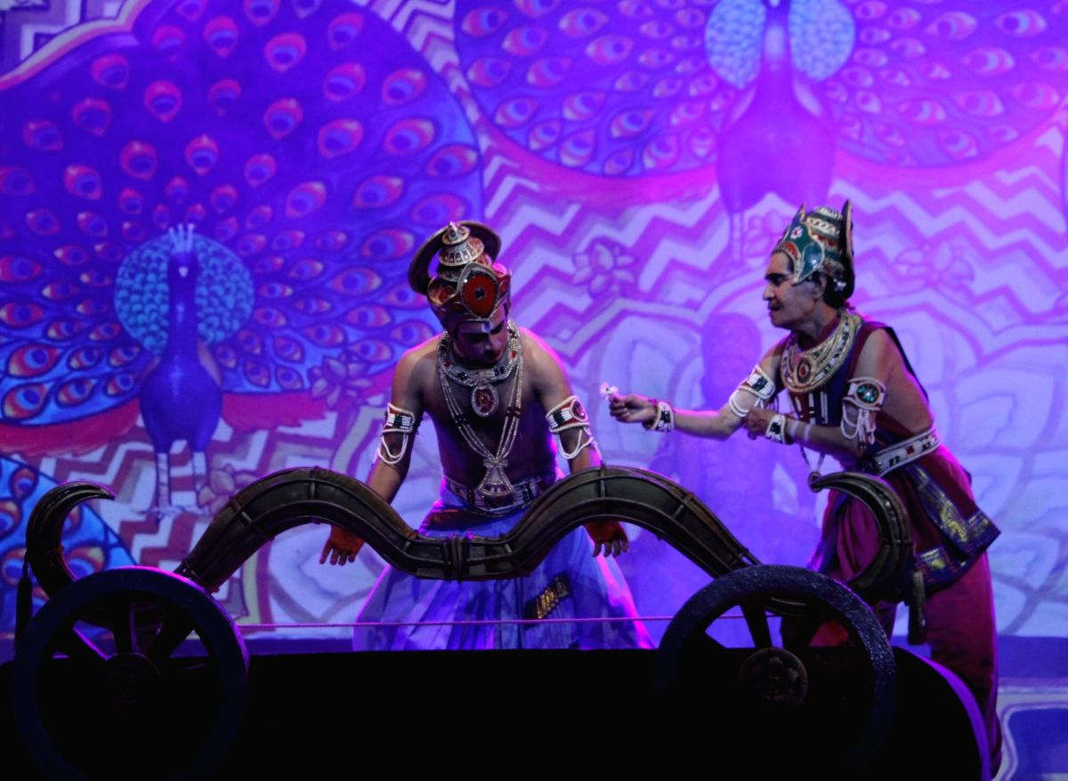 New Delhi: Artistes perform during Ramlila at Shriram Bharatiya Kala Kendra in New Delhi on Oct 17, 2020.