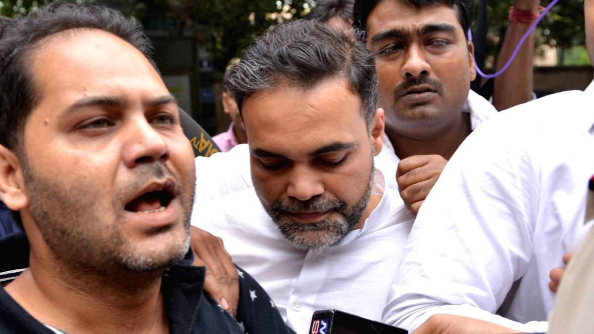 :New Delhi: Ashish Pandey, son of former Bahujan Samaj Party (BSP) MP Rakesh Pandey who surrendered before Metropolitan Magistrate Dharmendra Singh at the Patiala House Court in New Delhi on Oct ...