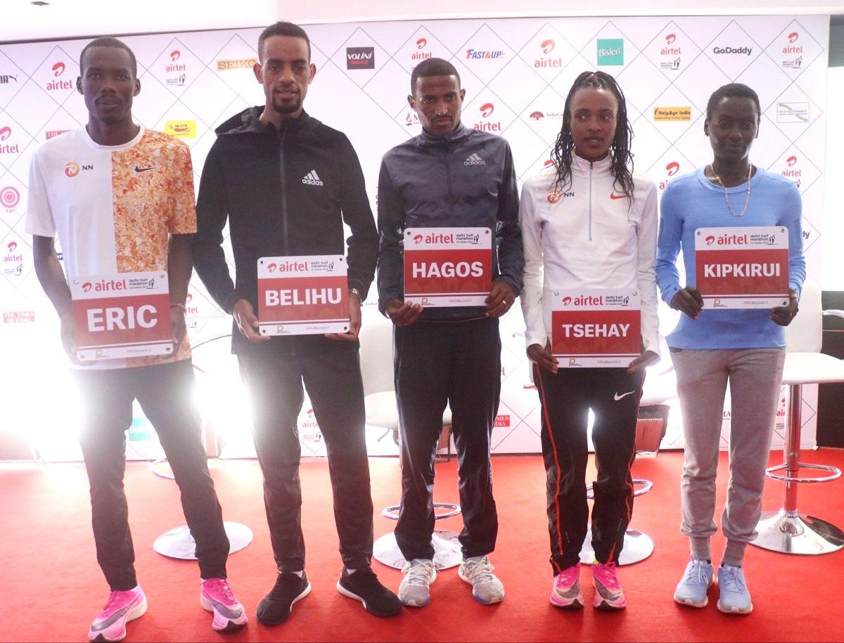 New Delhi: Athletes Eric Kiptanui, Andamlak Belihu, Hagos Gebrhiwet, Tsehay Gemechu and Caroline Kipkitui during a press conference ahead of Airtel Delhi Half Marathon 2019, in New Delhi on Oct 18, 2019.