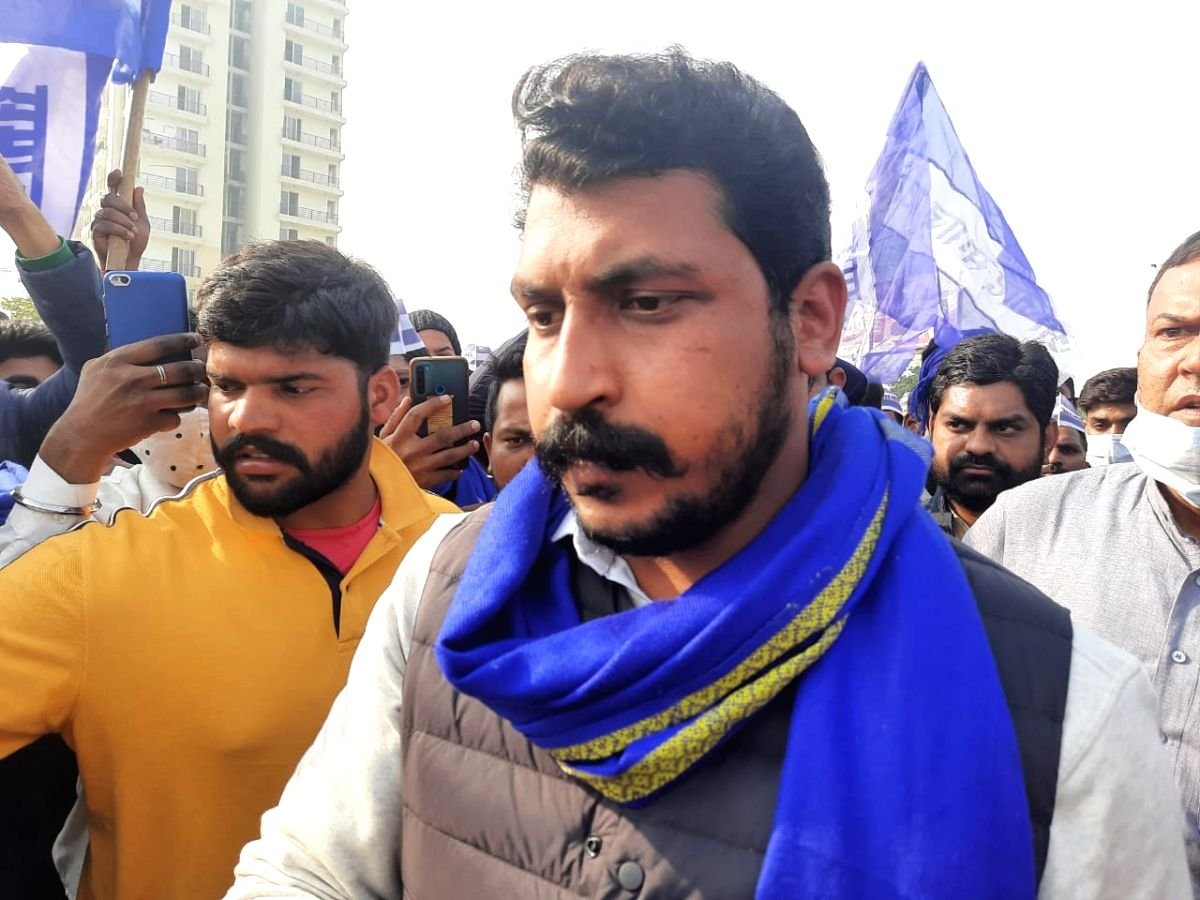New Delhi: Bhim Army chief Chandra Shekhar reached Ghazipur on the Delhi-Uttar Pradesh border where farmers continue to protest against the Central Government's new Farm Laws for the sixth consecutive day, on Dec 1, 2020.