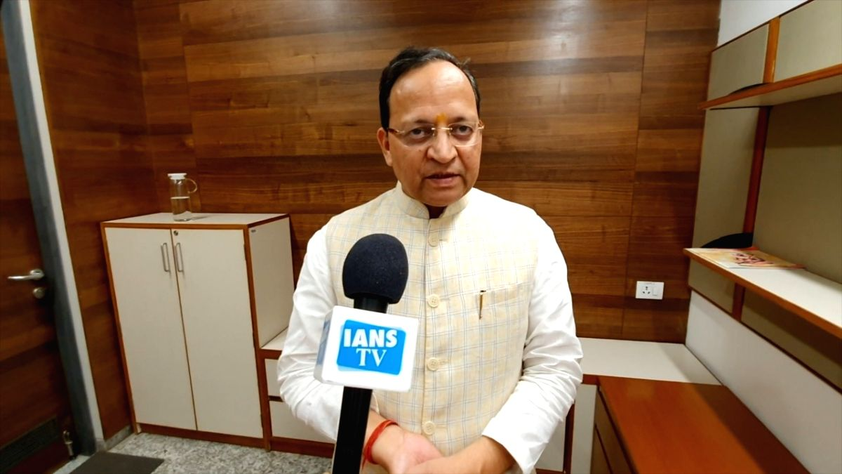 New Delhi: BJP leader Arun Singh talks to IANS TV on the Supreme Court's verdict in the Ayodhya title dispute case, in New Delhi on Nov 9, 2019.