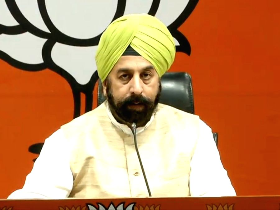 New Delhi: BJP leader R.P. Singh addresses a press conference at the party's headquarter, in New Delhi on Aug 27, 2018. (Photo: IANS/BJP)