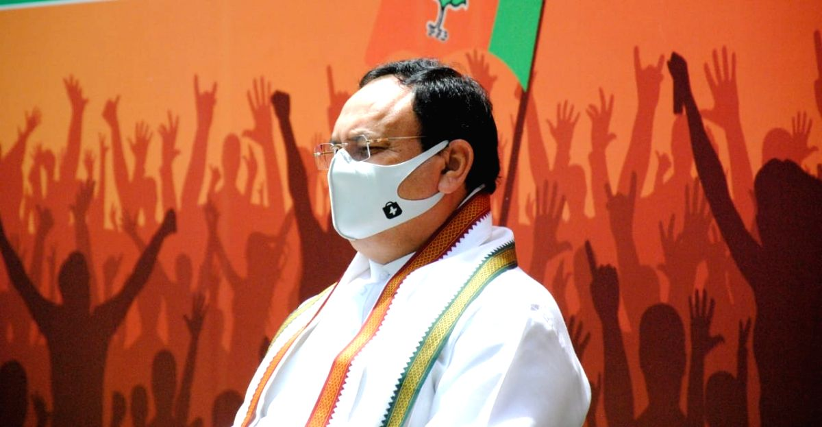 New Delhi: BJP National President J.P. Nadda flag off Covid relief material for Delhi on 2yrs of Modi Govt 30 May  from his residence 7B, Motilal Nehru Marg in New Delhi On Sunday, 30 May, 2021.(Photo: qamar sibtain/IANS)