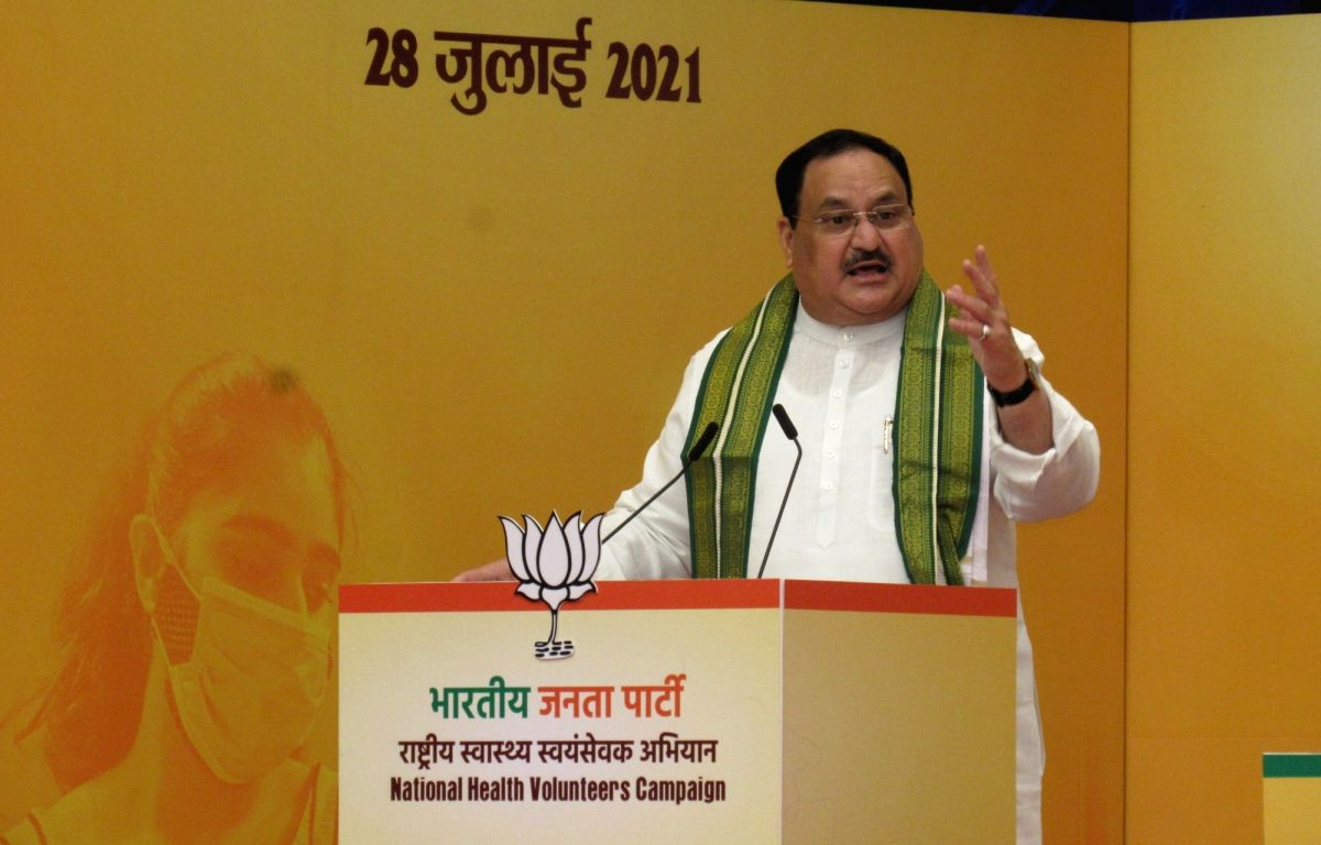 New Delhi : BJP National President JP Nadda launches National Health Volunteers Campaign from BJP HQ on Wednesday, July 28, 2021. (Photo: Anupam Gautam/IANS)