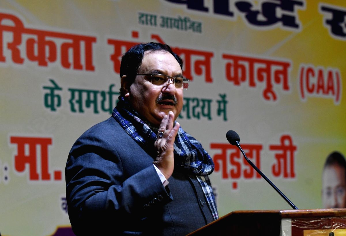 New Delhi: BJP National Working President JP Nadda addresses during a programme organised in support of the Citizenship Amendment Act (CAA) 2019 by the Bhartiya Buddhist Sangh, in New Delhi on Jan 17, 2020.