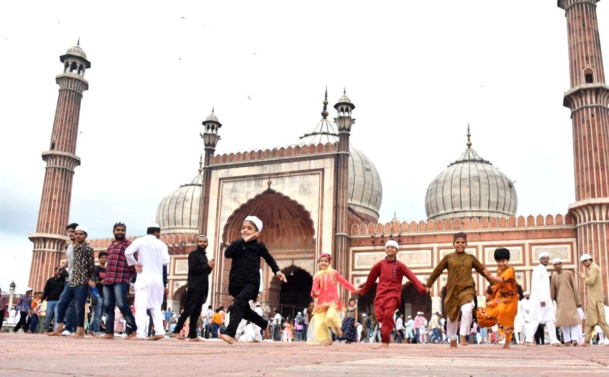 New Delhi: Children celebrate on Eid-ul-Adha at Jama Masjid in New Delhi on Aug 12, 2019.
