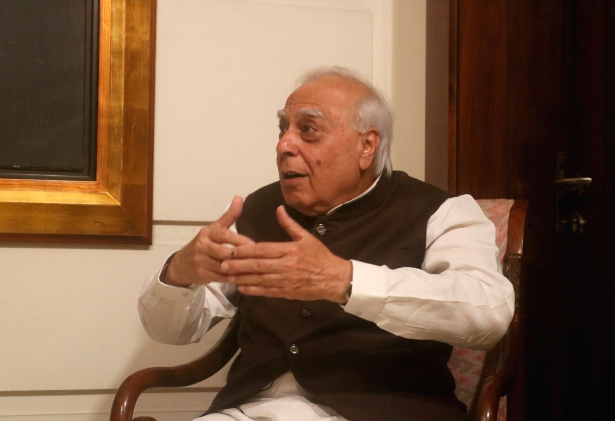 New Delhi: Congress leader Kapil Sibal interacts with the IANS leadership team of Sandeep Bamzai and Deepak Sharma during an exclusive interview, in New Delhi on March 17, 2020.