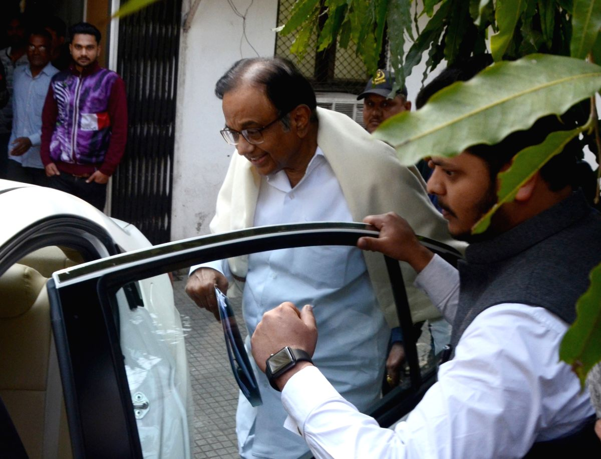 New Delhi: Congress leader P. Chidambaram leaves after appearing before Enforcement Directorate in connection with a money laundering probe related to INX Media, in New Delhi on Feb 8, 2019.