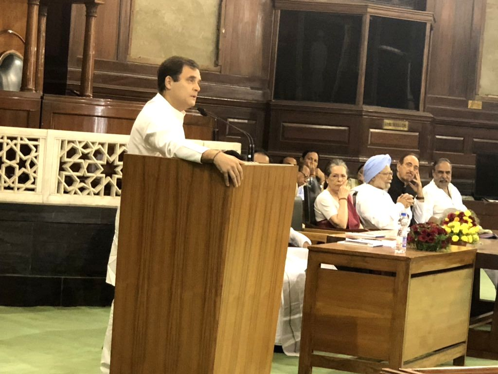 New Delhi: Congress President Rahul Gandhi during Congress Parliamentary Party (CPP) meeting at Parliament in New Delhi on June 1, 2019. (Photo: Twitter/@rssurjewala)