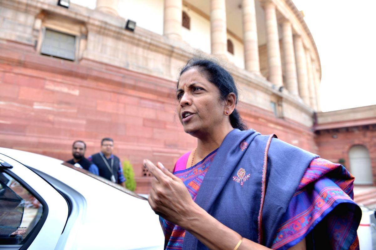 New Delhi: Defence Minister Nirmala Sitharaman arrives at Parliament in New Delhi, on Feb 8, 2019.