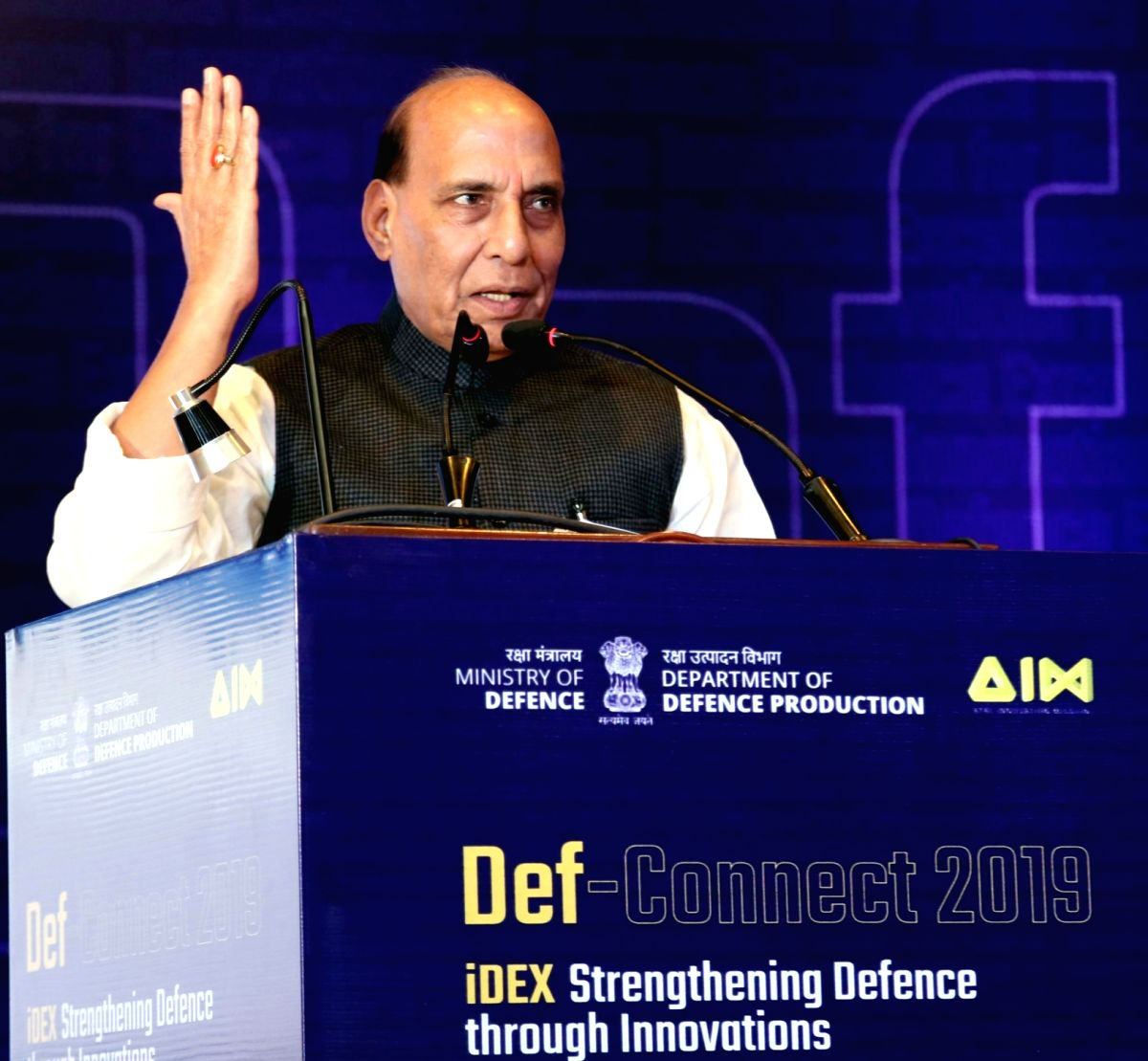 New Delhi: Defence Minister Rajnath Singh addresses at 'Def-Connect' under the aegis of Innovations for Defence Excellence (iDEX), in New Delhi on Nov 11, 2019. (Photo: IANS/PIB)