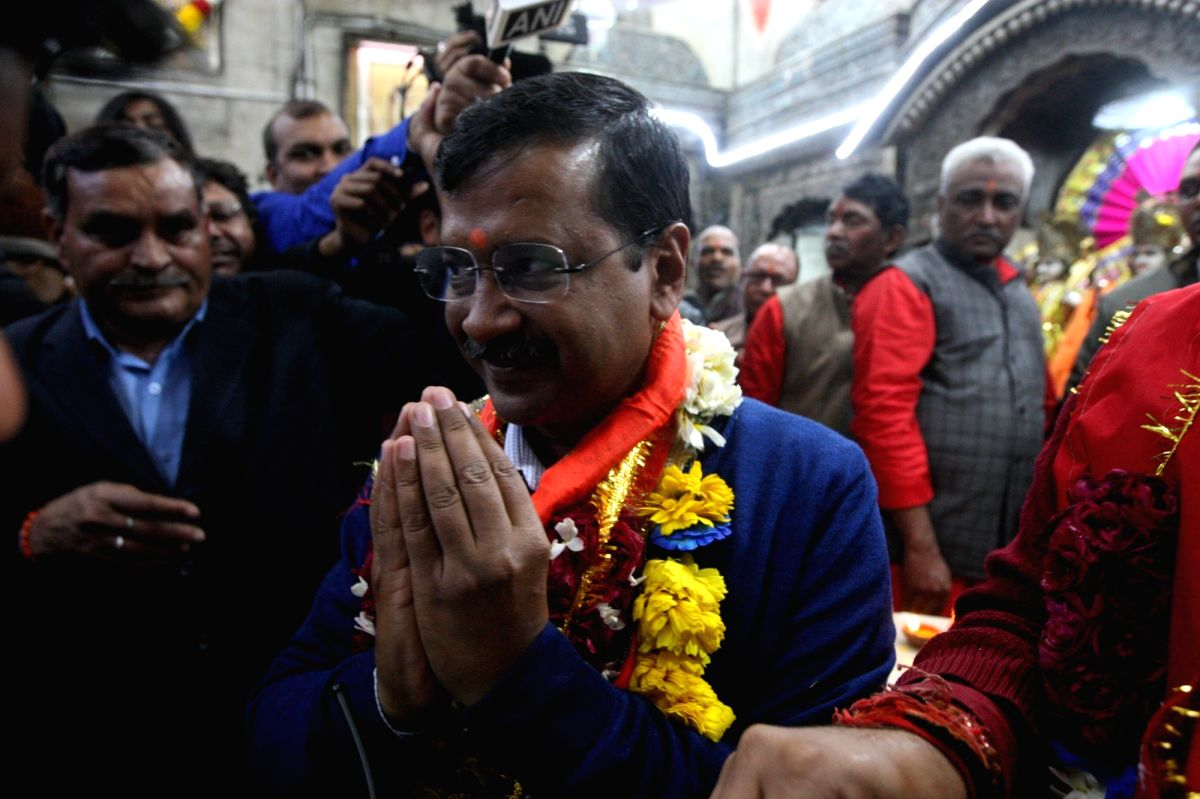 New Delhi: Delhi Chief Minister and Aam Aadmi Party (AAP) chief Arvind Kejriwal offers prayers at the Hanuman Temple at Delhi's Connaught Place (CP) after his party achieved sweeping victory in the Delhi Assembly elections 2020, on Feb 11, 2020. (Pho