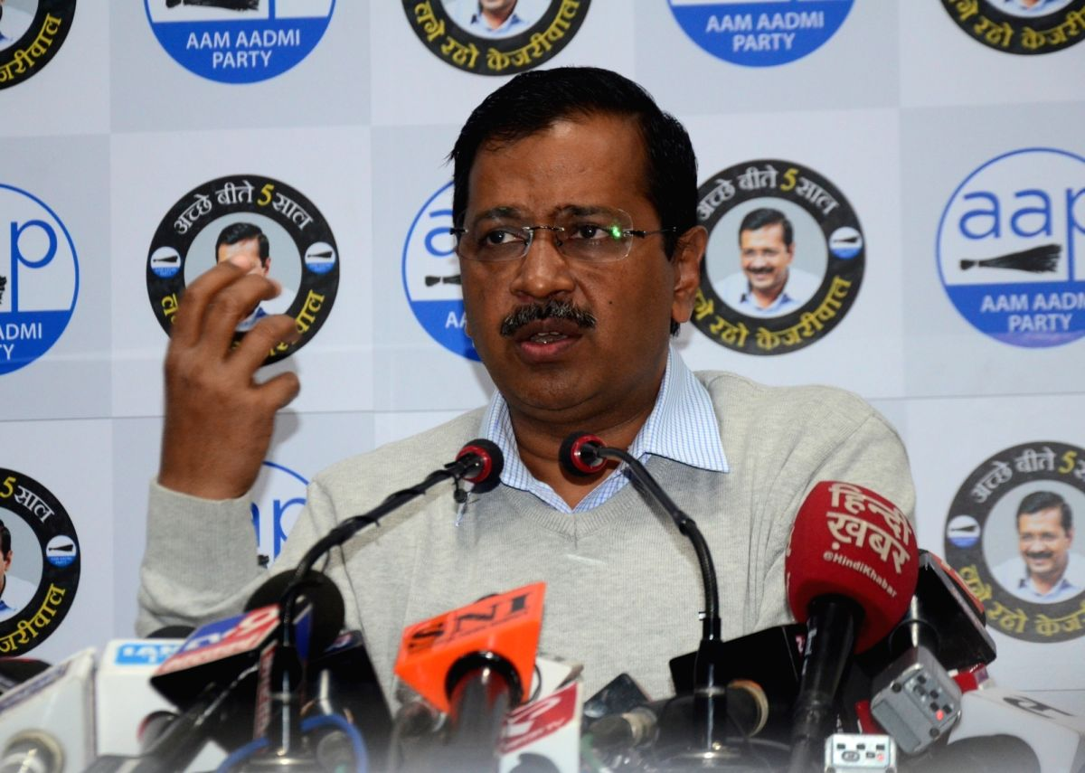 New Delhi: Delhi Chief Minister and Aam Aadmi Party chief Arvind Kejriwal addresses a press conference in New Delhi on Feb 5, 2020.