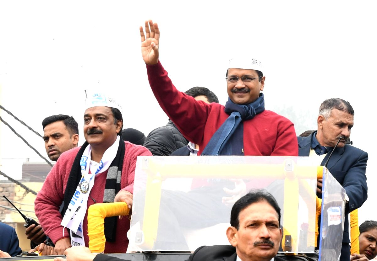New Delhi: Delhi Chief Minister and AAP national convenor Arvind Kejriwal along with the party's candidate Ajesh Yadav, holds a massive roadshow ahead of the February 8 Assembly elections, at Badli on Jan 22, 2020. (Photo IANS)