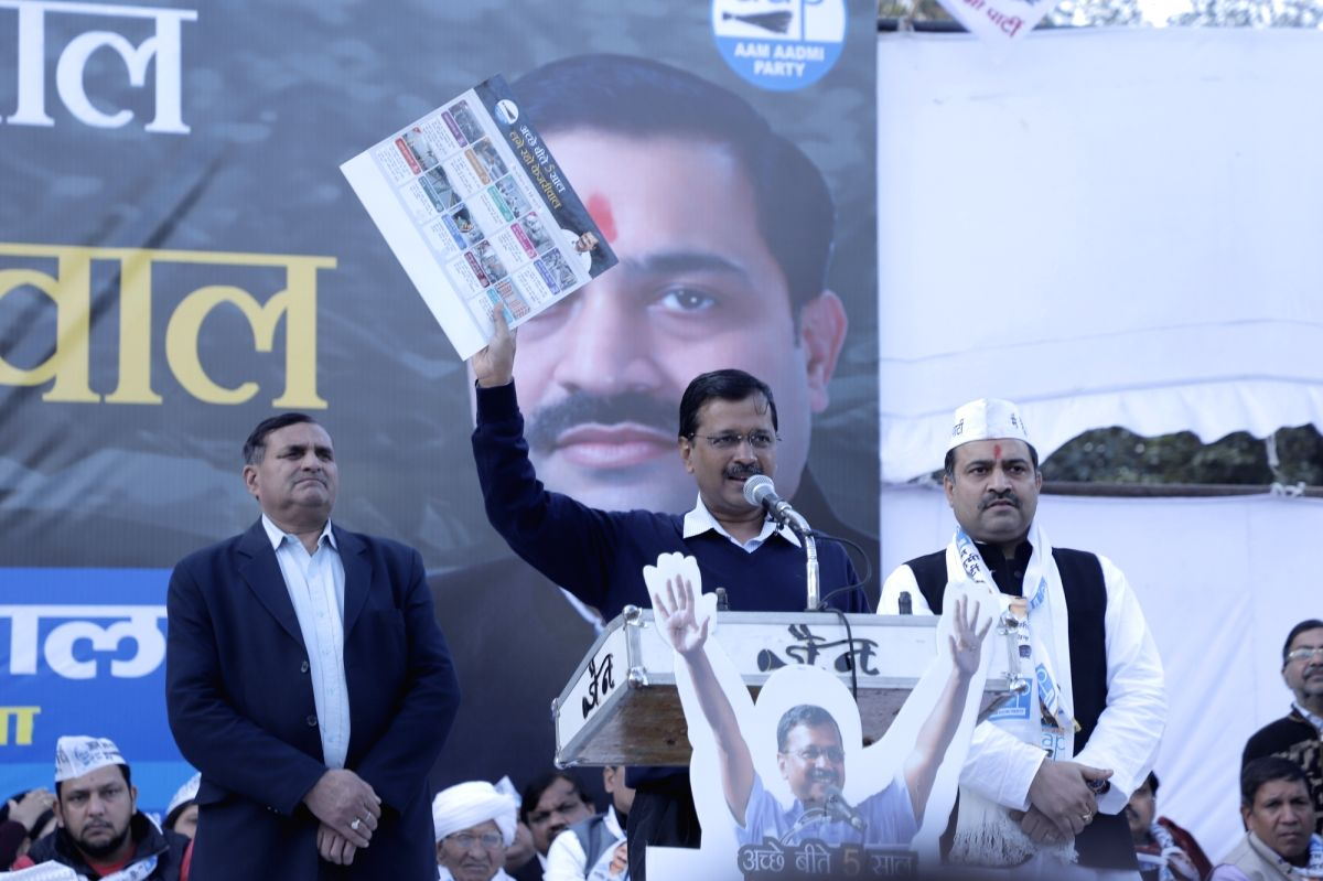 New Delhi: Delhi Chief Minister and AAP national convenor Arvind Kejriwal addresses during a public meeting ahead of February 8 Assembly elections, in North West Delhi's Rohini Sector - 9, on Jan 24, 2020.
