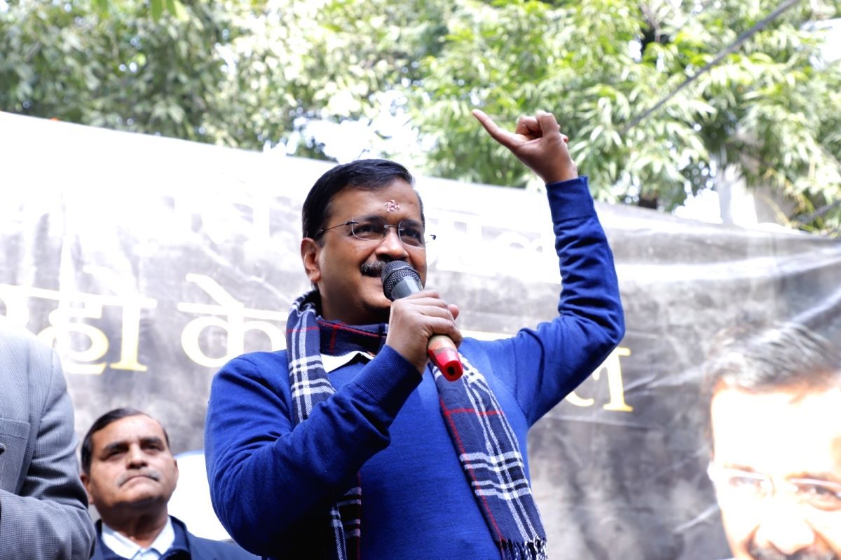 New Delhi: Delhi Chief Minister and AAP supremo Arvind Kejriwal addresses at the inauguration of the election campaign office of Delhi Cabinet Minister and AAP's candidate from Shakur Basti Satyendra Jain, ahead of Delhi Assembly elections, in New De