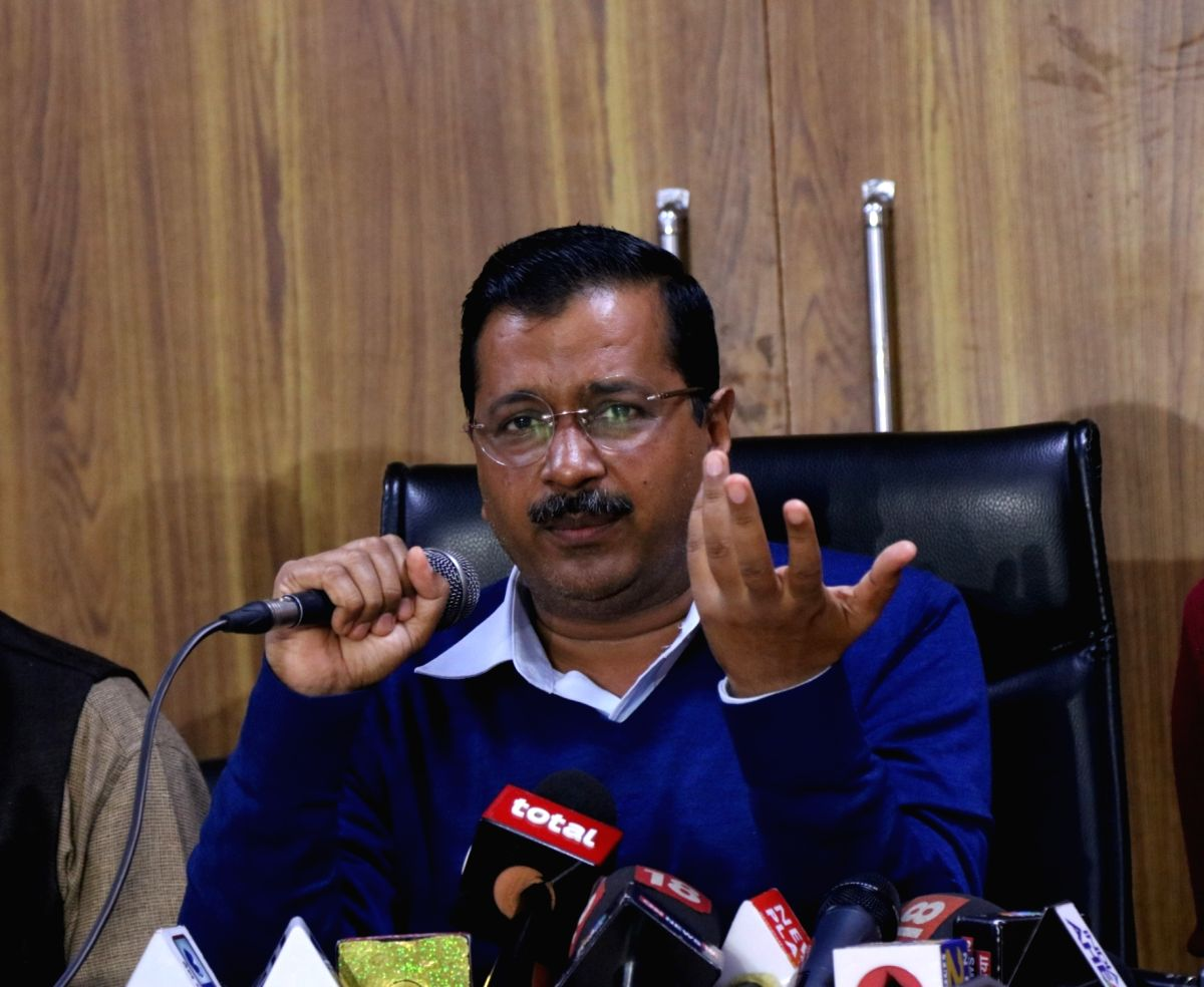New Delhi: Delhi Chief Minister Arvind Kejriwal addresses a press conference in New Delhi on Feb 14, 2019.