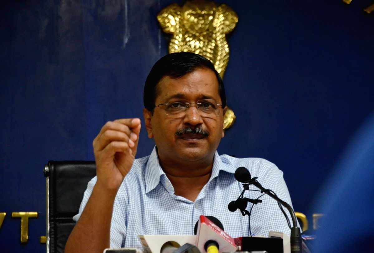 New Delhi: Delhi Chief Minister Arvind Kejriwal addresses a press conference in New Delhi on Sep 13, 2019. The CM on Friday announced that the Odd-Even scheme will be back in November, to tackle the rising menace of pollution just around the time of