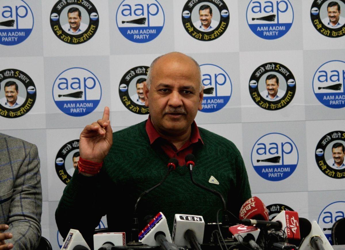 New Delhi: Delhi Deputy Chief Minister and AAP leader Manish Sisodia addresses a press conference, in New Delhi on Jan 24, 2020.