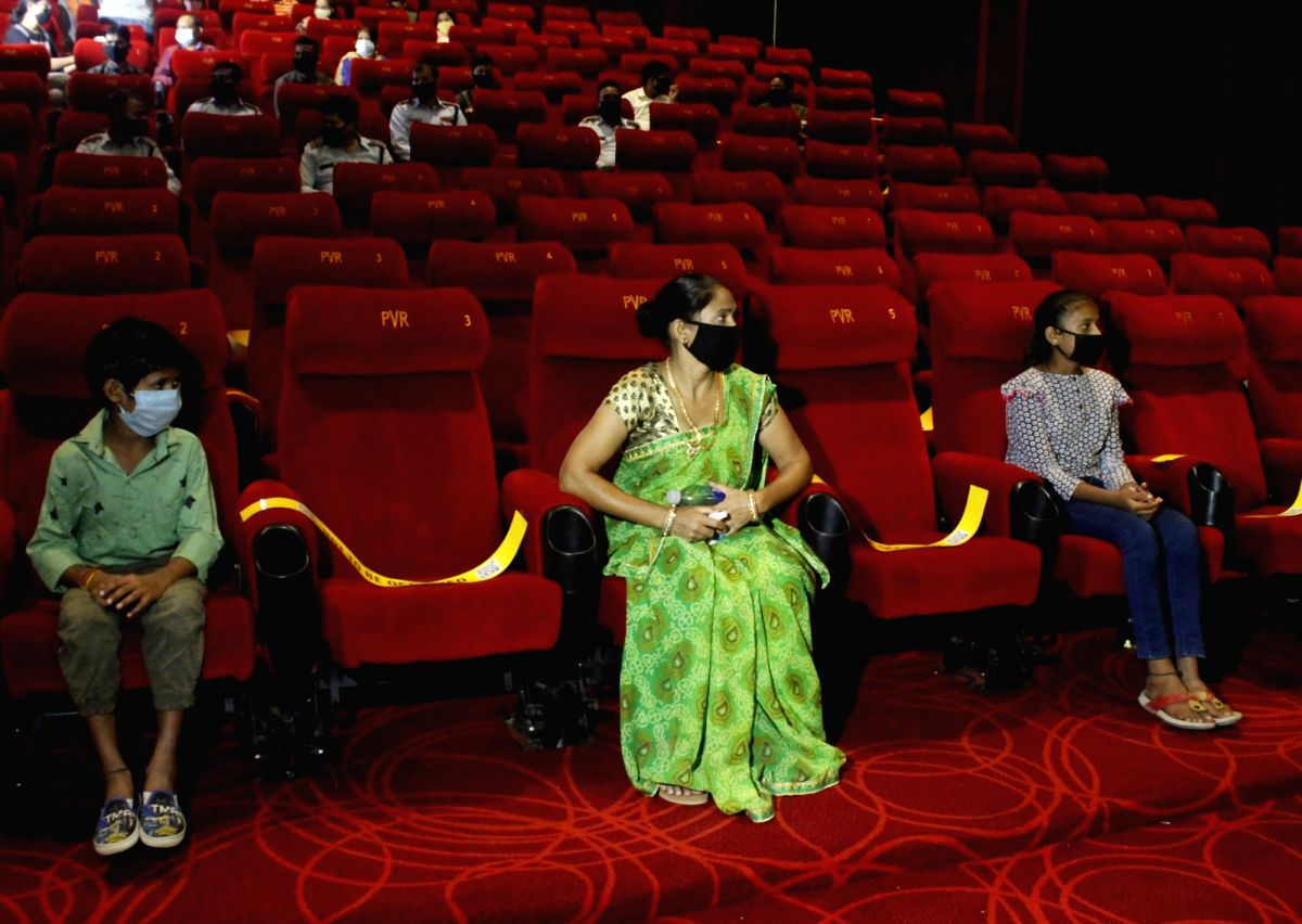 """New Delhi: Delhi district authorities organised the special screening of Taapsee Pannu starrer """"Thappad"""" for Corona warriors including doctors, Civil defence and other officers as cinema halls reopened from today as part of Unlock 5.0 with precaution"""