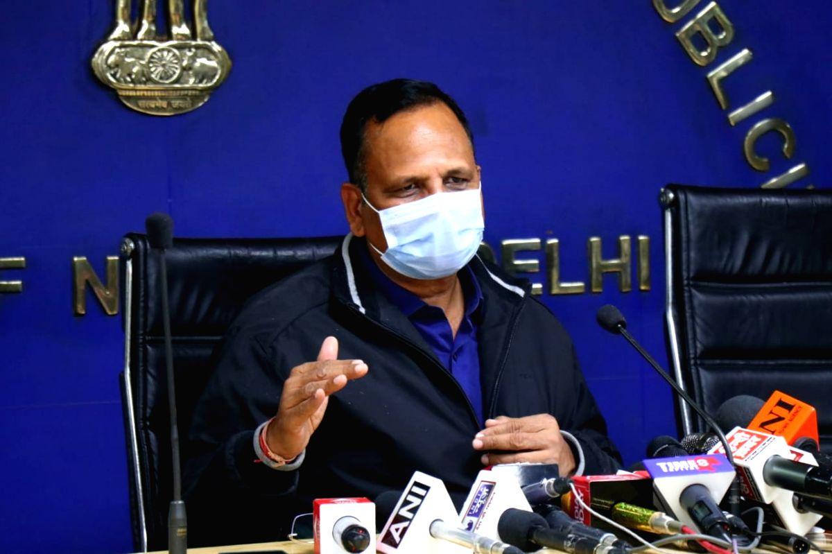 New Delhi: Delhi Health Minister  Satyendar Jain address a press conference in New Delhi on Tuesday, 2nd February 2021.(Photo: Qamar Sibtain/IANS)