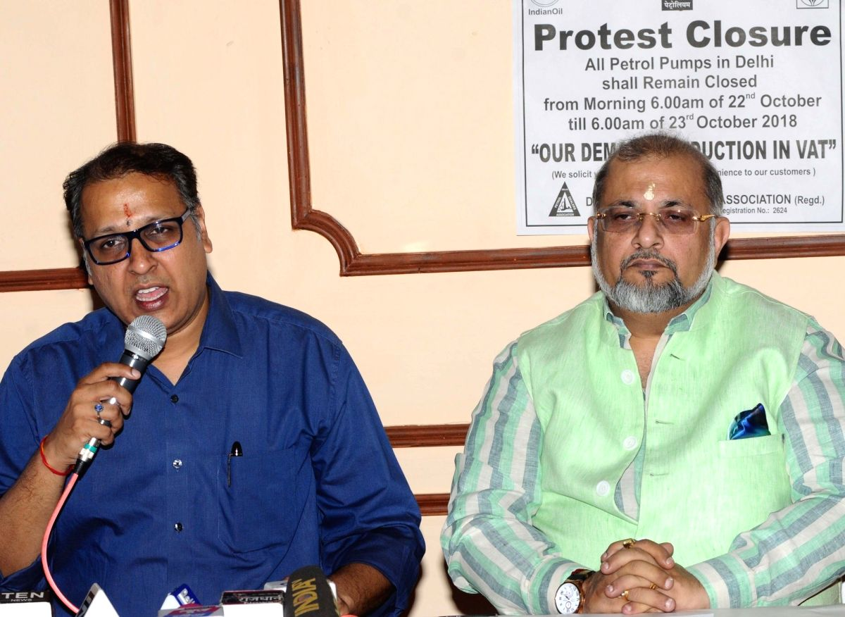 :New Delhi: Delhi Petrol Dealers Association (DPDA) President Nischal Singhania and DPDA General Secretary Anil Bijlani during a press conference organised to announce the protest closure of petrol ...