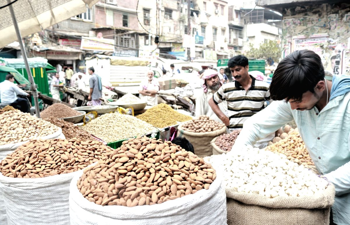 New Delhi: Dry fruits on sale at a shop in Khari Baoli whole sale market near Chandni Chowk, in New Delhi. (File Photo: IANS)
