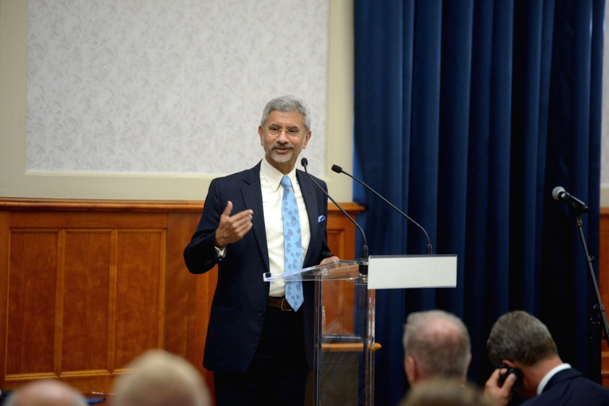 New Delhi: External Affairs Minister S. Jaishankar addresses at the Hungarian Annual Ambassadors' Conference in Budapest, Hungary on Aug 26, 2019. (Photo: IANS/MEA)