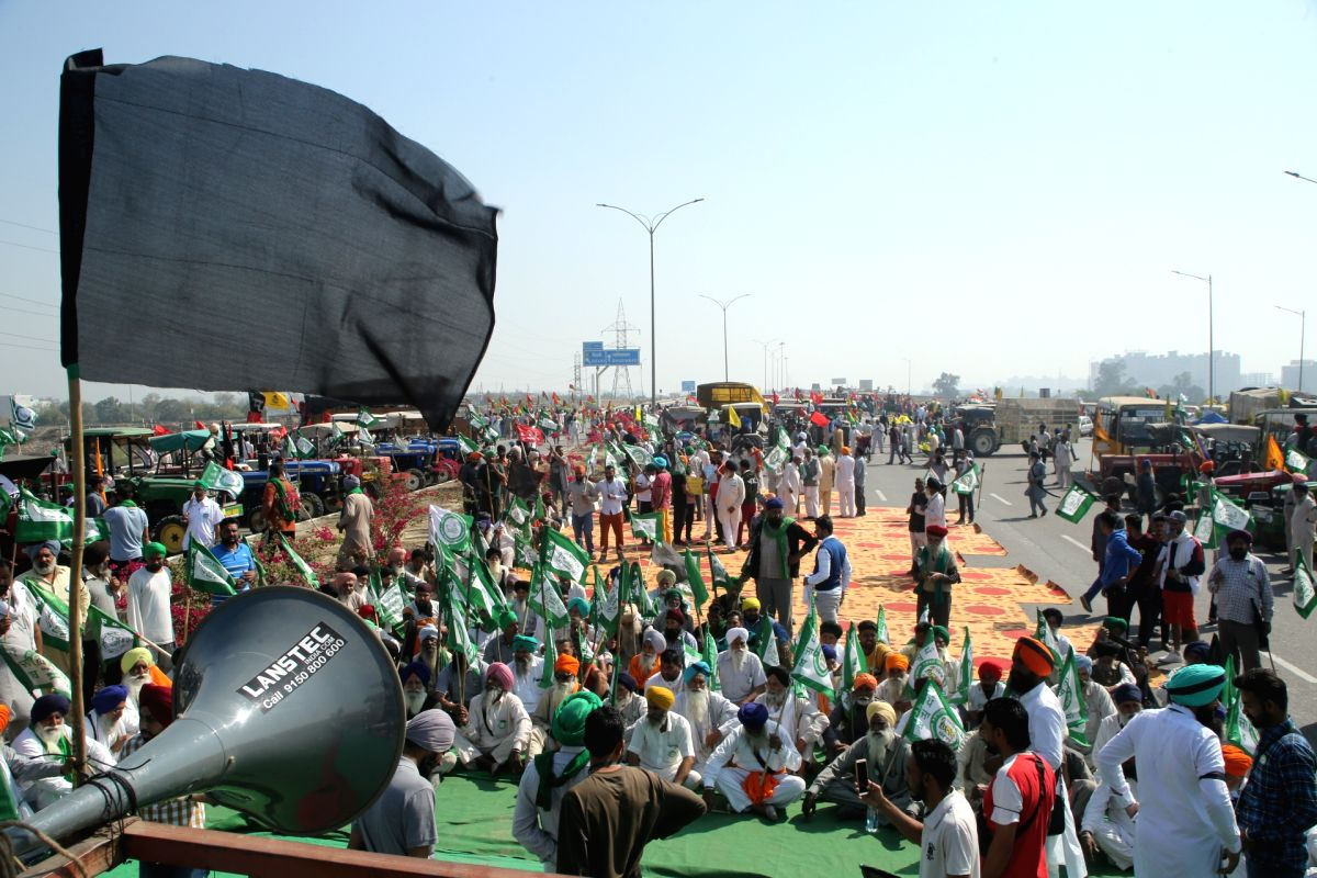 New Delhi: Farmers blocked KMP Expressway, Kundli border against new agricultural laws during the 100 days completion on Saturday in New Delhi on Saturday 06th March, 2021.