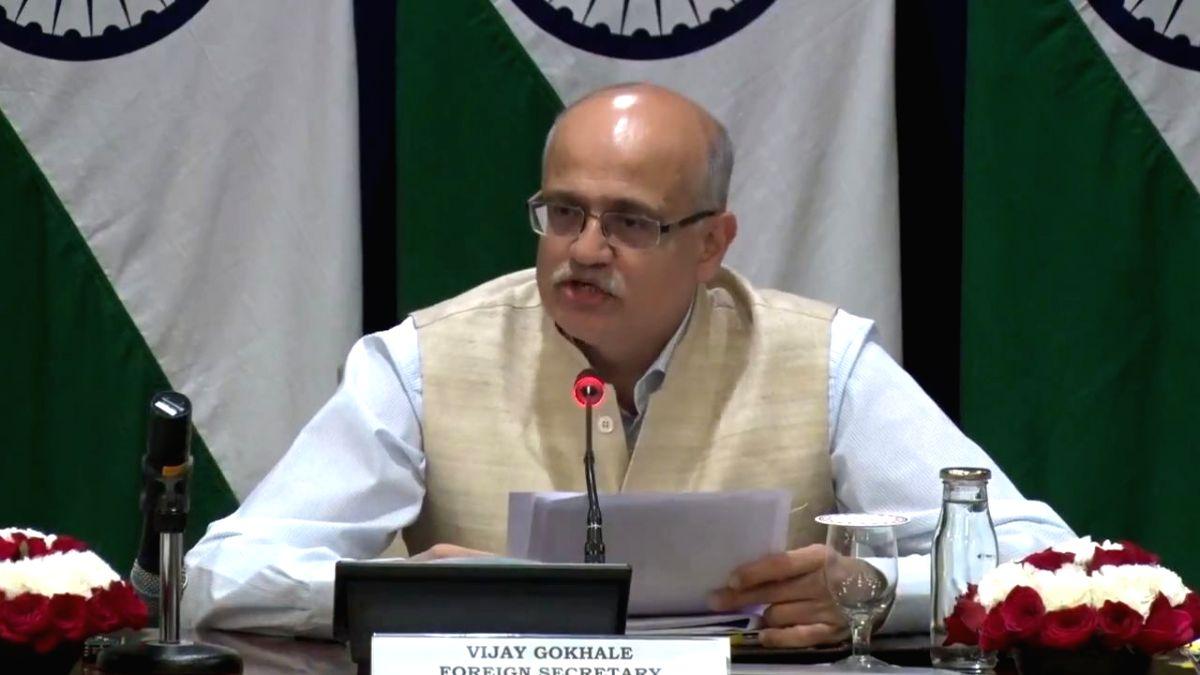 New Delhi: Foreign Secretary Vijay Gokhale briefs the media on Prime Minister Narendra Modi's upcoming visit to Vladivostok in Russia; in New Delhi on Sep 2, 2019. (Photo: IANS/MEA)