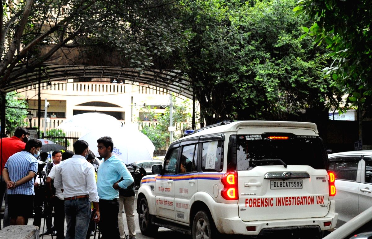 New Delhi:Forensic team enter Rohini Court for Investigation in New Delhi, on Friday, Sept. 24, 2021. Two assailants in lawyers' black coats opened fire in a courtroom in the court on Friday, killing a notorious crime suspect before being fatally s